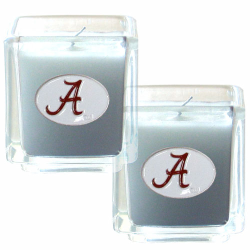 "College Candle Set (2) - Alabama Crimson Tide - This College Alabama Crimson Tide Candle Set includes two 2"" x 2"" vanilla scented candles featuring a metal square with a hand enameled Alabama Crimson Tide college emblem. Check out our extensive line of  collegiate merchandise! Thank you for shopping with CrazedOutSports.com"