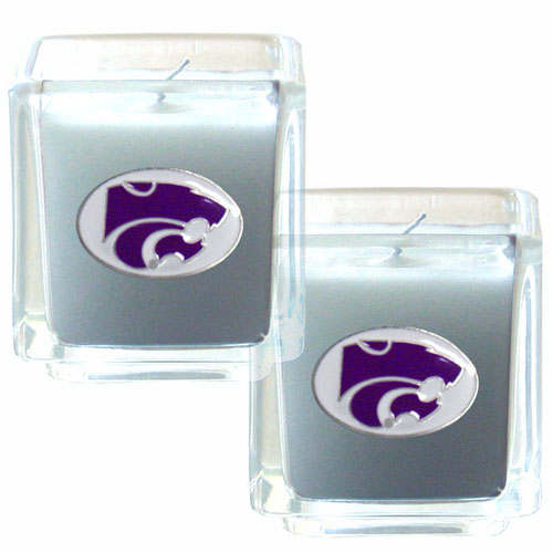 "College Candle Set (2) - Kansas St Wildcats - Kansas St. Wildcats College Candle Set includes two 2"" x 2"" vanilla scented candles featuring a metal square with a hand enameled college emblem. Check out our extensive line of  collegiate merchandise! Thank you for shopping with CrazedOutSports.com"