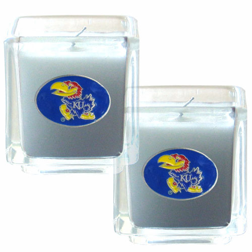 "College Candle Set (2) - Kansas Jayhawks - Kansas Jayhawks College Candle Set includes two 2"" x 2"" vanilla scented candles featuring a metal square with a hand enameled college emblem. Check out our extensive line of  collegiate merchandise! Thank you for shopping with CrazedOutSports.com"
