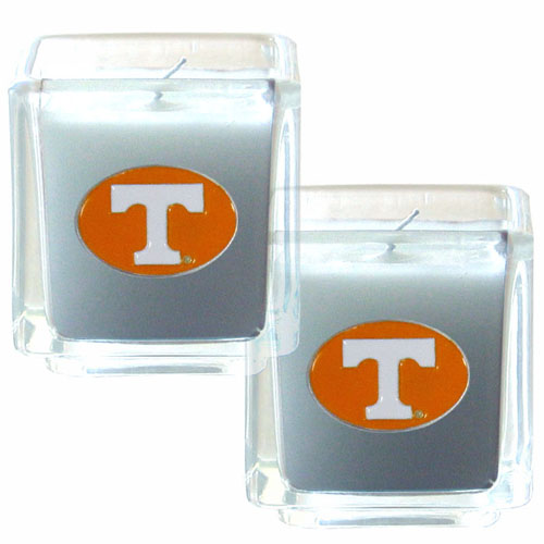 "College Candle Set (2) - Tennessee Volunteers - College Candle Set includes two 2"" x 2"" vanilla scented candles featuring a metal square with a hand enameled college emblem. Check out our extensive line of  collegiate merchandise! Thank you for shopping with CrazedOutSports.com"