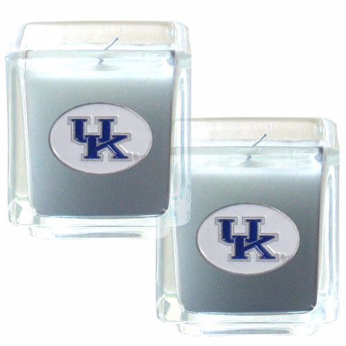 "College Candle Set (2) - Kentucky Wildcats - College Candle Set includes two 2"" x 2"" vanilla scented candles featuring a metal square with a hand enameled college emblem. Check out our extensive line of  collegiate merchandise! Thank you for shopping with CrazedOutSports.com"