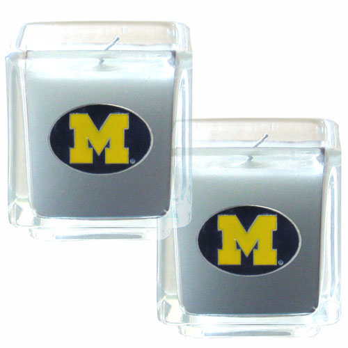 "Michigan Wolverines Candle Set - Michigan Wolverines College Candle Set includes two 2"" x 2"" vanilla scented candles featuring a metal square with a hand enameled college emblem. This Michigan Wolverines Candle Set is perfect for the game day with friends! Thank you for shopping with CrazedOutSports.com"