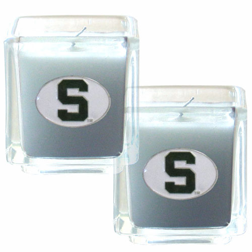 "Michigan St. Spartans College Candle Set - Michigan St. Spartans College Candle Set includes two 2"" x 2"" vanilla scented candles featuring a metal square with a hand enameled college emblem. Michigan St. Spartans College Candle Set is perfect for that gameday party.Check out our extensive line of  collegiate merchandise! Thank you for shopping with CrazedOutSports.com"