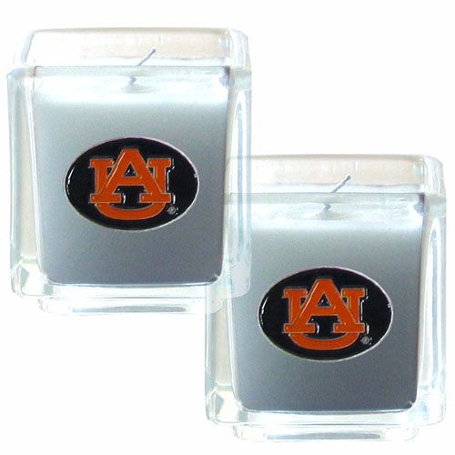 "College Candle Set (2) - Auburn Tigers - College Candle Set includes two 2"" x 2"" vanilla scented candles featuring a metal square with a hand enameled Auburn Tigers college emblem. Check out our extensive line of  collegiate merchandise! Thank you for shopping with CrazedOutSports.com"
