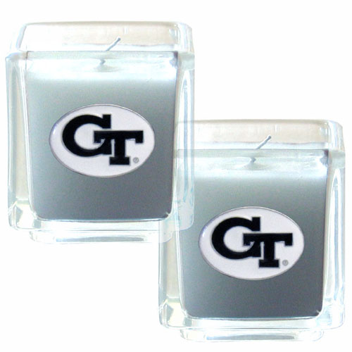 "College Candle Set (2) - Georgia Tech Yellow Jackets - Georgia Tech Yellow Jackets College Candle Set includes two 2"" x 2"" vanilla scented candles featuring a metal square with a hand enameled college emblem. Check out our extensive line of  collegiate merchandise! Thank you for shopping with CrazedOutSports.com"
