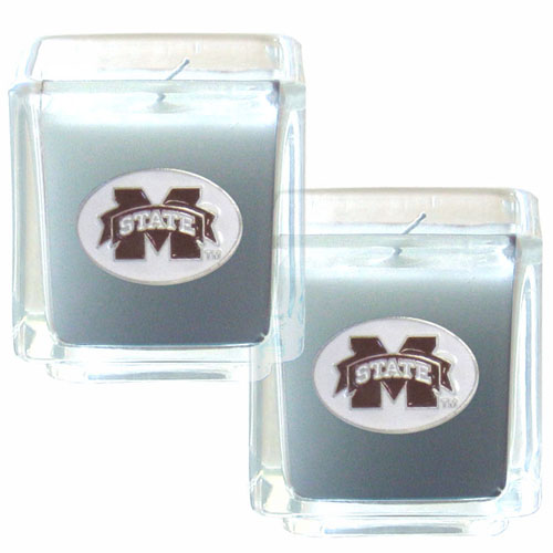 "College Candle Set (2) - Mississippi St Bulldogs - College Candle Set includes two 2"" x 2"" vanilla scented candles featuring a metal square with a hand enameled college emblem. Check out our extensive line of  collegiate merchandise! Thank you for shopping with CrazedOutSports.com"