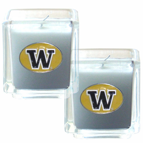 "College Candle Set (2) - Washington Huskies - College Candle Set includes two 2"" x 2"" vanilla scented candles featuring a metal square with a hand enameled college emblem. Check out our extensive line of  collegiate merchandise! Thank you for shopping with CrazedOutSports.com"