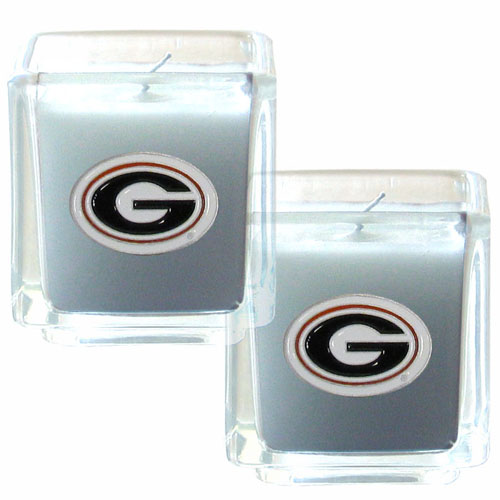 "College Candle Set (2) - Georgia Bulldogs - Georgia Bulldogs College Candle Set includes two 2"" x 2"" vanilla scented candles featuring a metal square with a hand enameled Georgia Bulldogs college emblem. Check out our extensive line of  collegiate merchandise! Thank you for shopping with CrazedOutSports.com"