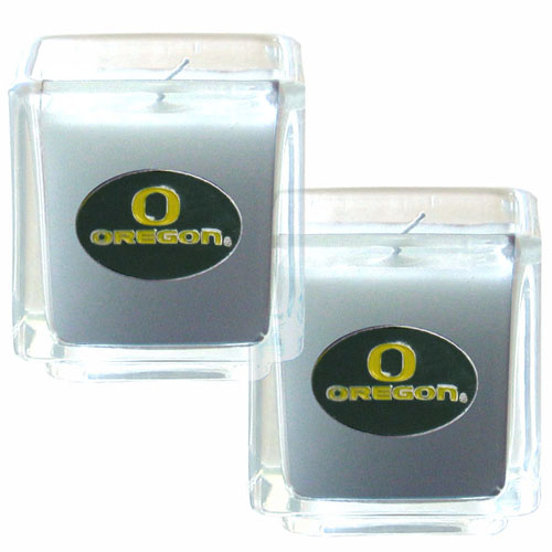 "College Candle Set (2) - Oregon Ducks - College Candle Set includes two 2"" x 2"" vanilla scented candles featuring a metal square with a hand enameled college emblem. Check out our extensive line of  collegiate merchandise! Thank you for shopping with CrazedOutSports.com"