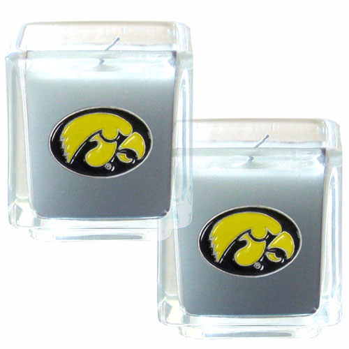 "College Candle Set (2) - Iowa Hawkeyes - Iowa Hawkeyes College Candle Set includes two 2"" x 2"" vanilla scented candles featuring a metal square with a hand enameled college emblem. Check out our extensive line of  collegiate merchandise! Thank you for shopping with CrazedOutSports.com"
