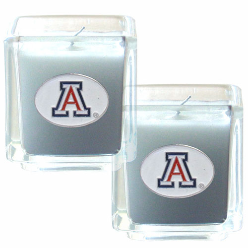 "College Candle Set (2) - Arizona Wildcats - College Candle Set includes two 2"" x 2"" vanilla scented candles featuring a metal square with a hand enameled Arizona Wildcats college emblem. Check out our extensive line of  collegiate merchandise! Thank you for shopping with CrazedOutSports.com"