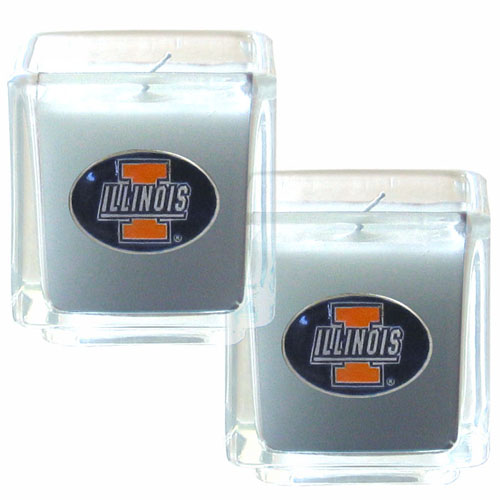 "College Candle Set (2) - Illinois Fighting Illini - Illinois Fighting Illini College Candle Set includes two 2"" x 2"" vanilla scented candles featuring a metal square with a hand enameled college emblem. Check out our extensive line of  collegiate merchandise! Thank you for shopping with CrazedOutSports.com"