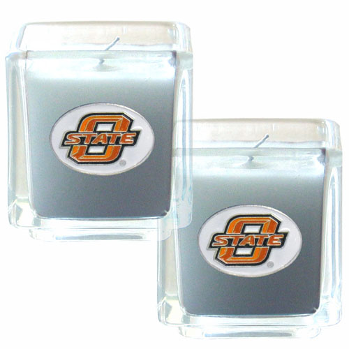 "College Candle Set (2) - Oklahoma St. Cowboys - College Candle Set includes two 2"" x 2"" vanilla scented candles featuring a metal square with a hand enameled college emblem. Check out our extensive line of  collegiate merchandise! Thank you for shopping with CrazedOutSports.com"