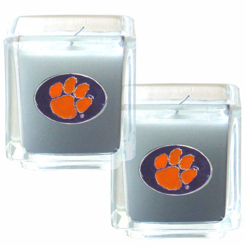 "College Candle Set (2)  - Clemson Tigers - College Candle Set includes two 2"" x 2"" vanilla scented candles featuring a metal square with a hand enameled Clemson Tigers college emblem. Check out our extensive line of  collegiate merchandise! Thank you for shopping with CrazedOutSports.com"