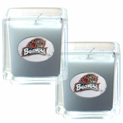 "College Candle Set (2) - Oregon St. Beavers - College Candle Set includes two 2"" x 2"" vanilla scented candles featuring a metal square with a hand enameled college emblem. Check out our extensive line of  collegiate merchandise! Thank you for shopping with CrazedOutSports.com"