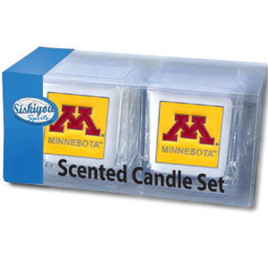 "Minnesota Golden Gophers College Candle Set - Minnesota Golden Gophers College Candle Set includes two 2"" x 2"" vanilla scented candles featuring a metal square with a hand enameled college emblem. Minnesota Golden Gophers College Candle Set is perfect for gameday! Check out our extensive line of collegiate merchandise! Thank you for shopping with CrazedOutSports.com"