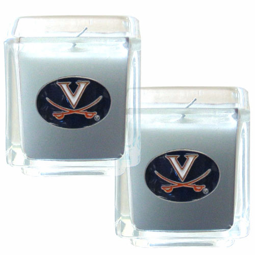 "College Candle Set (2) - Virginia Cavaliers - College Candle Set includes two 2"" x 2"" vanilla scented candles featuring a metal square with a hand enameled college emblem. Check out our extensive line of  collegiate merchandise! Thank you for shopping with CrazedOutSports.com"