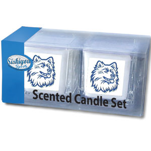 "College Candle Set (2) - UCONN Huskies - College Candle Set includes two 2"" x 2"" vanilla scented candles featuring a metal square with a hand enameled college emblem. Check out our extensive line of  collegiate merchandise! Thank you for shopping with CrazedOutSports.com"