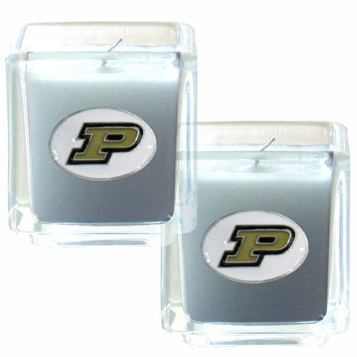 "College Candle Set (2) - Purdue Boilermakers - College Candle Set includes two 2"" x 2"" vanilla scented candles featuring a metal square with a hand enameled college emblem. Check out our extensive line of  collegiate merchandise! Thank you for shopping with CrazedOutSports.com"
