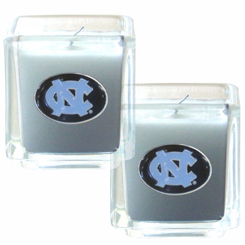"College Candle Set (2) - N. Carolina Tar Heels - College Candle Set includes two 2"" x 2"" vanilla scented candles featuring a metal square with a hand enameled college emblem. Check out our extensive line of  collegiate merchandise! Thank you for shopping with CrazedOutSports.com"