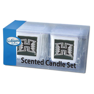 "College Candle Set (2) - Hawaii Rainbow Warriors - This Hawaii Rainbow Warriors College Candle Set includes two 2"" x 2"" vanilla scented candles featuring a metal square with a hand enameled college emblem. Check out our extensive line of  collegiate merchandise! Thank you for shopping with CrazedOutSports.com"