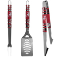 Alabama Crimson Tide 3 pc Tailgater BBQ Set - Our Alabama Crimson Tide tailgater BBQ set really catches your eye with flashy chrome accents and vivid Alabama Crimson Tide digital graphics. The 420 grade stainless steel tools are tough, heavy-duty tools that will last through years of tailgating fun. The set includes a spatula with a bottle opener and sharp serated egde, fork and tongs.