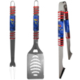 Kansas Jayhawks 3 pc Tailgater BBQ Set - This  Kansas Jayhawks tailgater BBQ set really catches your eye with flashy chrome accents and vivid Kansas Jayhawks digital graphics. The 420 grade stainless steel tools are tough, heavy-duty tools that will last through years of tailgating fun. The Kansas Jayhawks 3 pc Tailgater BBQ Set includes a spatula with a bottle opener and sharp serated egde, fork and tongs.