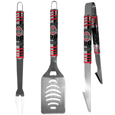 Ohio St. Buckeyes 3 pc Tailgater BBQ Set - Our tailgater BBQ set really catches your eye with flashy chrome accents and vivid Ohio St. Buckeyes digital graphics. The 420 grade stainless steel tools are tough, heavy-duty tools that will last through years of tailgating fun. The set includes a spatula with a bottle opener and sharp serated egde, fork and tongs.