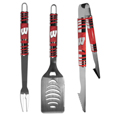 Wisconsin Badgers 3 pc Tailgater BBQ Set - Our tailgater BBQ set really catches your eye with flashy chrome accents and vivid Wisconsin Badgers digital graphics. The 420 grade stainless steel tools are tough, heavy-duty tools that will last through years of tailgating fun. The set includes a spatula with a bottle opener and sharp serated egde, fork and tongs.