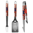 Illinois Fighting Illini 3 pc Tailgater BBQ Set - This Illinois Fighting Illini tailgater BBQ set really catches your eye with flashy chrome accents and vivid Illinois Fighting Illini digital graphics. The 420 grade stainless steel tools are tough, heavy-duty tools that will last through years of tailgating fun. The set includes a spatula with a bottle opener and sharp serated egde, fork and tongs.