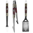 Florida St. Seminoles 3 pc Tailgater BBQ Set - Our tailgater BBQ set really catches your eye with flashy chrome accents and vivid Florida St. Seminoles digital graphics. The 420 grade stainless steel tools are tough, heavy-duty tools that will last through years of tailgating fun. The set includes a spatula with a bottle opener and sharp serated egde, fork and tongs.