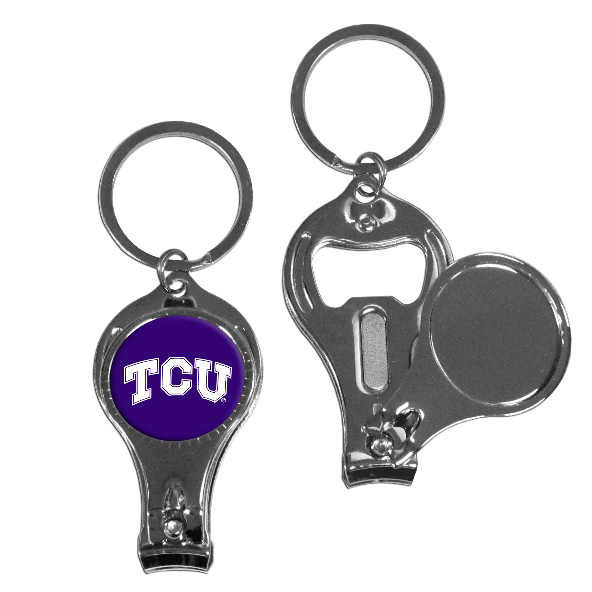 TCU Horned Frogs Nail Care/Bottle Opener Key Chain - This unique TCU Horned Frogs key chain has 3 great functions! The key chain opens to become a nail clipper, when open you can access the nail file pad and the key chain has a bottle opener.