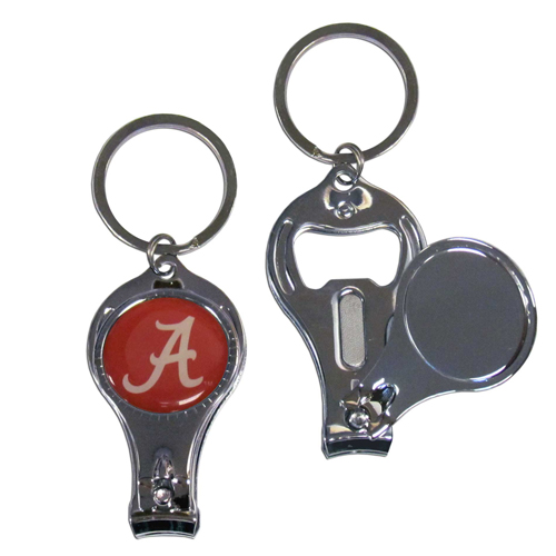 Alabama Crimson Tide 3 in 1 Key Chain - This unique Alabama Crimson Tide 3 in 1 Key Chain collegiate key chain has 3 great functions! The key chain opens to become a nail clipper, when open you can access the nail file pad and the Alabama Crimson Tide 3 in 1 Key Chain has a bottle opener. Thank you for shopping with CrazedOutSports.com