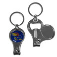 Kansas Jayhawks Nail Care/Bottle Opener Key Chain - This unique Kansas Jayhawks Nail Care/Bottle Opener key chain has 3 great functions! The key chain opens to become a nail clipper, when open you can access the nail file pad and the key chain has a bottle opener. Thank you for shopping with CrazedOutSports.com