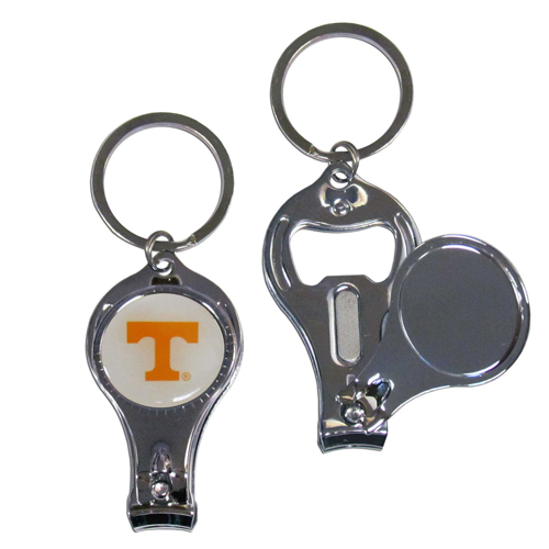 Tennessee 3 in 1 Key Chain - This unique collegiate key chain has 3 great functions! The key chain opens to become a nail clipper, when open you can access the nail file pad and the key chain has a bottle opener. Thank you for shopping with CrazedOutSports.com