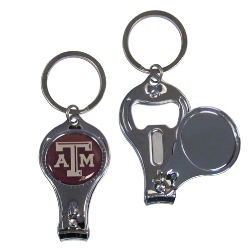 Texas A and M Aggies Nail Care Key Chain - This unique collegiate Texas A & M Aggies key chain has 3 great functions! The key chain opens to become a nail clipper, when open you can access the nail file pad and the Texas A & M Aggies key chain has a bottle opener. Thank you for shopping with CrazedOutSports.com