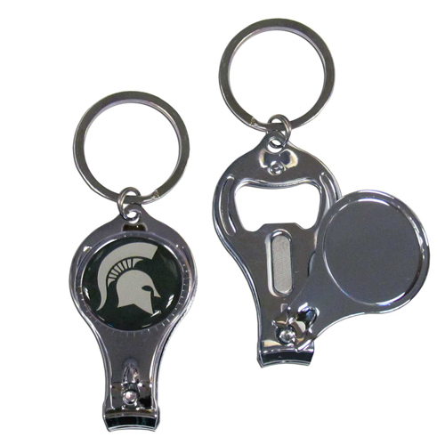 Michigan St. Spartans 3 in 1 Key Chain - This unique collegiate Michigan St. Spartans 3 in 1 Key Chain has 3 great functions! The Michigan St. Spartans 3 in 1 Key Chain opens to become a nail clipper, when open you can access the nail file pad and the Michigan St. Spartans 3 in 1 Key Chain has a bottle opener. Thank you for shopping with CrazedOutSports.com