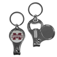 Mississippi St. Bulldogs Nail Care/Bottle Opener Key Chain - This unique Mississippi St. Bulldogs key chain has 3 great functions! The key chain opens to become a nail clipper, when open you can access the nail file pad and the key chain has a bottle opener. Thank you for shopping with CrazedOutSports.com
