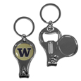 Washington Huskies Nail Care/Bottle Opener Key Chain - This unique Washington Huskies key chain has 3 great functions! The key chain opens to become a nail clipper, when open you can access the nail file pad and the key chain has a bottle opener. Thank you for shopping with CrazedOutSports.com