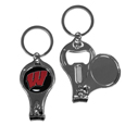 Wisconsin Badgers Nail Care/Bottle Opener Key Chain - This unique Wisconsin Badgers key chain has 3 great functions! The key chain opens to become a nail clipper, when open you can access the nail file pad and the key chain has a bottle opener. Thank you for shopping with CrazedOutSports.com