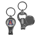 Arizona Wildcats Nail Care/Bottle Opener Key Chain - This unique Arizona Wildcats Nail Care/Bottle Opener Key Chain has 3 great functions! The key chain opens to become a nail clipper, when open you can access the nail file pad and the Arizona Wildcats Nail Care/Bottle Opener Key Chain has a bottle opener. Thank you for shopping with CrazedOutSports.com