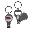 Mississippi Rebels Nail Care/Bottle Opener Key Chain - This unique Mississippi Rebels key chain has 3 great functions! The key chain opens to become a nail clipper, when open you can access the nail file pad and the key chain has a bottle opener. Thank you for shopping with CrazedOutSports.com