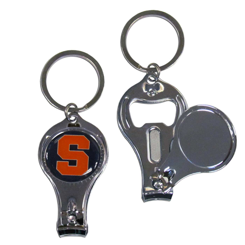Syracuse 3 in 1 Key Chain - This unique collegiate key chain has 3 great functions! The key chain opens to become a nail clipper, when open you can access the nail file pad and the key chain has a bottle opener. Thank you for shopping with CrazedOutSports.com