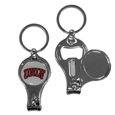 UNLV Rebels Nail Care/Bottle Opener Key Chain - This unique UNLV Rebels key chain has 3 great functions! The key chain opens to become a nail clipper, when open you can access the nail file pad and the key chain has a bottle opener.