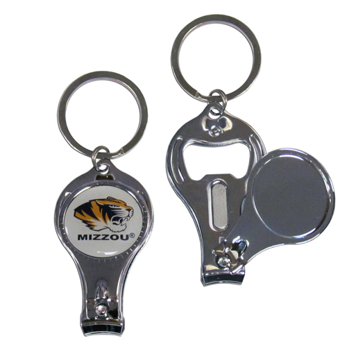 Missouri 3 in 1 Key Chain - This unique collegiate key chain has 3 great functions! The key chain opens to become a nail clipper, when open you can access the nail file pad and the key chain has a bottle opener. Thank you for shopping with CrazedOutSports.com