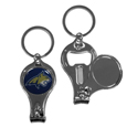 Montana St. Bobcats Nail Care/Bottle Opener Key Chain - This unique Montana St. Bobcats key chain has 3 great functions! The key chain opens to become a nail clipper, when open you can access the nail file pad and the key chain has a bottle opener. Thank you for shopping with CrazedOutSports.com
