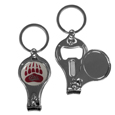 Montana Grizzlies Nail Care/Bottle Opener Key Chain - This unique Montana Grizzlies key chain has 3 great functions! The key chain opens to become a nail clipper, when open you can access the nail file pad and the key chain has a bottle opener. Thank you for shopping with CrazedOutSports.com