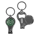 Colorado St. Rams Nail Care/Bottle Opener Key Chain - This unique Colorado St. Rams Nail Care/Bottle Opener Key Chain has 3 great functions! The key chain opens to become a nail clipper, when open you can access the nail file pad and the Colorado St. Rams Nail Care/Bottle Opener key chain has a bottle opener. Thank you for shopping with CrazedOutSports.com