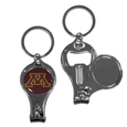 Minnesota Golden Gophers Nail Care/Bottle Opener Key Chain - This unique Minnesota Golden Gophers Nail Care/Bottle Opener Key Chain has 3 great functions! The Minnesota Golden Gophers Nail Care/Bottle Opener Key Chain opens to become a nail clipper, when open you can access the nail file pad and the key chain has a bottle opener. Thank you for shopping with CrazedOutSports.com