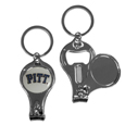 PITT Panthers Nail Care/Bottle Opener Key Chain - This unique PITT Panthers key chain has 3 great functions! The key chain opens to become a nail clipper, when open you can access the nail file pad and the key chain has a bottle opener. Thank you for shopping with CrazedOutSports.com